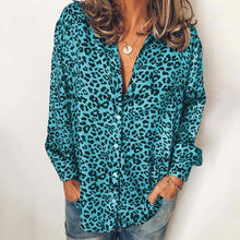 Casual V-neck Leopard Loose Long Sleeve Shirt