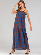 Dovechic Vacation Plaid Spaghetti-neck Maxi Dresses