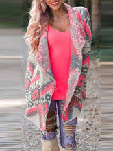 Sweet Print Folded Collar Loose Coat
