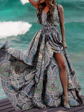 Dovechic Printed Split-side Belted Condole Belt Maxi Dress