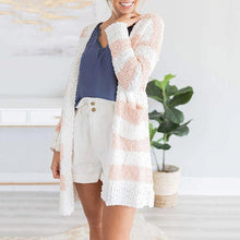 Fashion grain velvet striped color matching knit cardigan