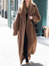 Fashion Large Lapel Solid Color Plush Long Coat