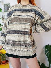 Vintage Striped Long Sleeve Round Neck Sweater