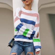 Women's Long Sleeved Head Color Striped Sweater