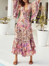 Dovechic Sexy V-neck Mandarin Sleeve Floral Printed Maxi Dress
