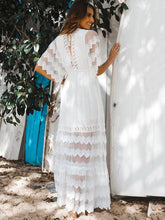 Dovechic Hollow Split-joint V-neck Maxi Dress