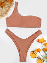 Dovechic Single Shoulder Plain Bikinis Swimwear