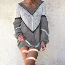 V-neck color matching casual loose sweater