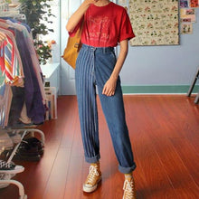 Fashion Vertical Striped Straight Denim Trousers