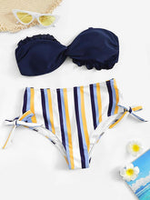 Dovechic Striped Bottom Bikinis Swimwear