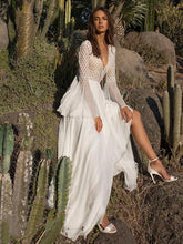Dovechic V-neck Flared Backless Maxi White Dress