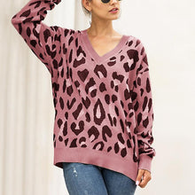 Fashion V-neck leopard long-sleeved knit top