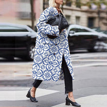 Fashion Buttons Printed Colour Turndown Collar Overcoat