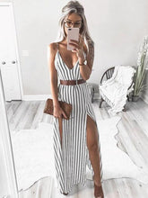 Dovechic Sexy V-neck Striped Split-side Maxi Dresses