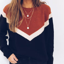 Women'sCasual Long Sleeve Contrast Color Pullover Marylou Brick