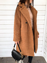 Women's Casual Turndown Collar Long Sleeve Contrast Color Loose Sweater Coat
