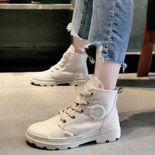 Casual Women Candy-colored High-top Canvas Boots