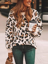 Casual Round Neck Leopard Loose Long Sleeve Sweater