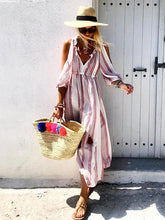 Dovechic Printed V-neck Half Sleeve Maxi Dress