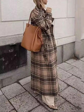 Women's Casual Loose Plaid Long Sleeve Coat