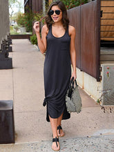 Dovechic Chic Side Split Irregular Maxi Dress