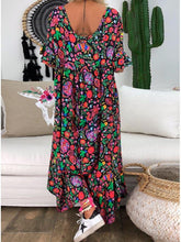 Dovechic Loose Printed Round Neck Maxi Dress