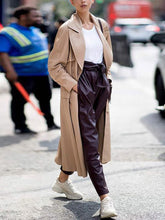Casual Solid Color Lapel Loose Long-sleeved Trench Coat