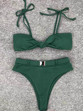 Dovechic Lace Up Plain High Waisted Bikini Swimsuit