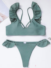 Dovechic Plain Ruffled Bikini Swimsuit