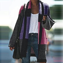Fashion colorblock pocket cardigan coat