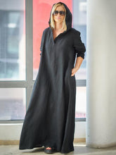Dovechic Loose Black Ramie Cotton With Hat Linen Dress