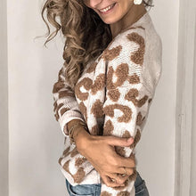 Women's Casual Deep V-Neck Long Sleeve Leopard Print Loose Sweater Cardigan
