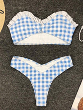 Dovechic Plaid Spaghetti-neck Bikini Swimsuit