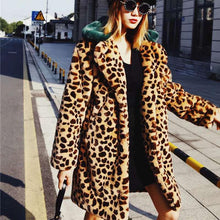 Leisure Lapel Single Buckle Leopard Print Printing Overcoat