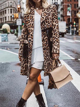 Women's Fashion Leopard Printed Long-Sleeved Coat