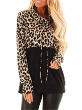 Stand collar leopard print stitching long sleeve t-shirt