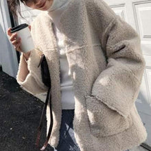Sweet Lamb Hair Solid Color Patch Pocket Cardigan