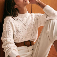 Daily Short High Collar Long Sleeves White Sweater