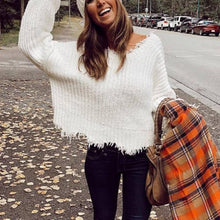 Round neck long sleeve white loose knit sweater