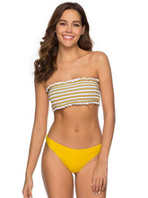 Dovechic Strapless Draped Striped Top With Solid Panty Bikini Set