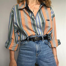 Fashion Vertical Stripes Ladies Shirt