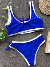 Dovechic Contrast Lattice Bikini Swimsuit