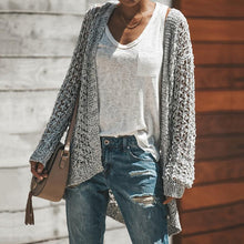 Casual solid color hollow irregular knit cardigan