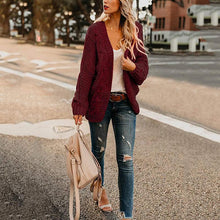 Women's Commuting Long Sleeve Pure Color Knit Cardigan