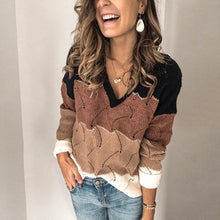 Fashion V-Collar Spell-Color Knitted Sweater