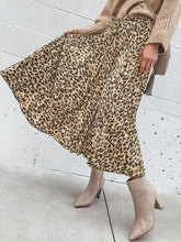 Fashion Ins Wind Leopard Pleated Skirt