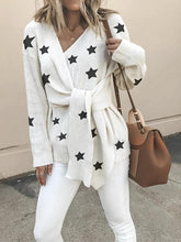 Women's Commuting Five-Pointed Star Belted Loose Sweater