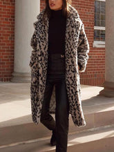Fashion Leopard Print Fluffy Long Sleeves Midi Coat