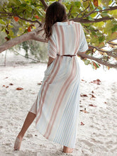 Dovechic Fresh Striped Lapel Maxi Dresses