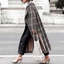 Vintage Fashion Plaid Lapel Long Coat